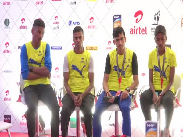 Indian top athletes during a media interaction.