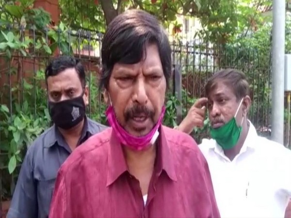 Union Minister Ramdas Athawale speaking to reporters on Friday in Mumbai. [Photo/ANI]