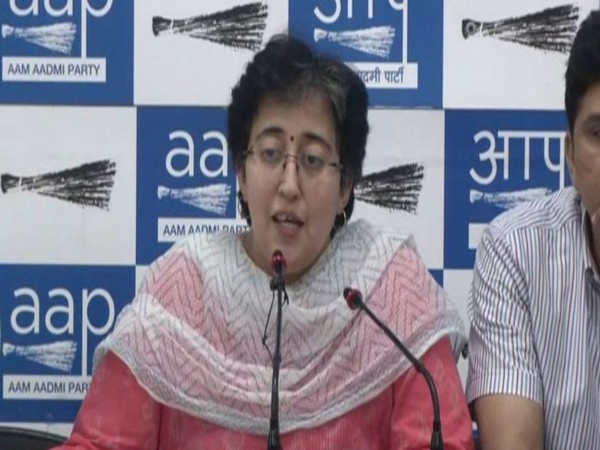 AAP leader Atishi Marlena addressing a press conference on Thursday. Photo/ANI