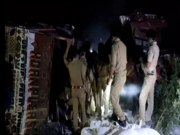 23 killed after two truck collide in UP's Auraiya on Saturday. Photo/ANI