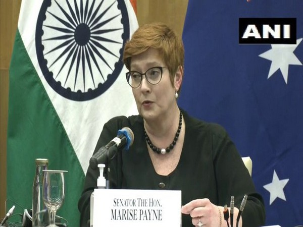 Australian Foreign Minister Marise Payne speaking at the India-Australia 2+2 Ministerial Dialogue between the nations' foreign and defense ministers.