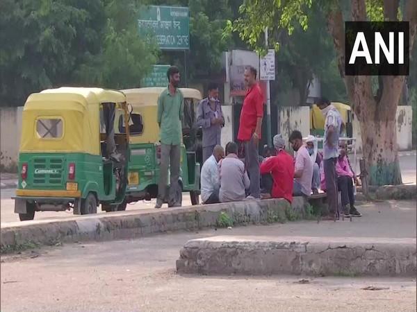 Autorickshaw drivers waiting outside the railway station in Chandigarh. (Photo/ANI)