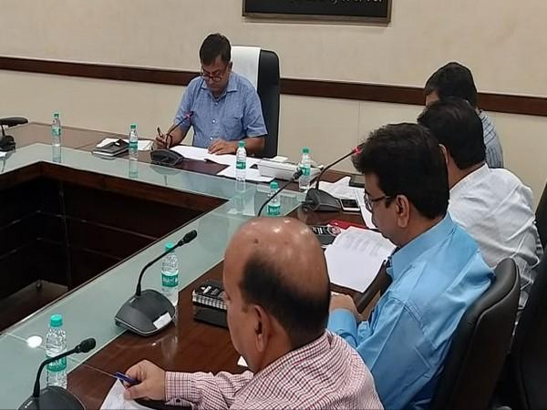 UPEIDA CEO Awanish Awasthi reviews construction of Purvanchal Expressway on Saturday. Photo/ANI