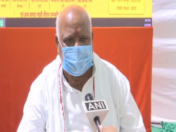 MP Lallu Singh speaking to ANI in Ayodhya on Monday. Photo/ANI