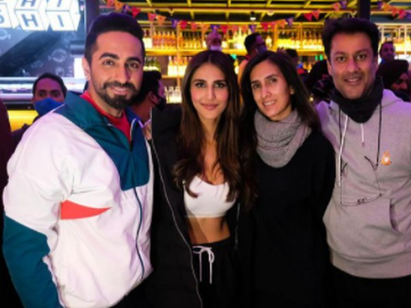 Actor Ayushmann Khurrana with actor Vaani Kapoor and filmmakers Abhishek and Pragya Kapoor. (Image ource: Instagram)