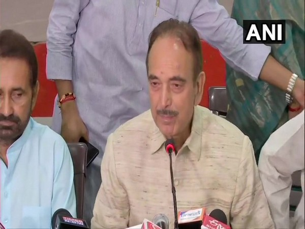 Congress leader Ghulam Nabi Azad addressing a press conference in Patna, Bihar on Wednesday.