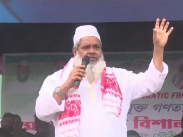 AIUDF chief president Badruddin Ajmal while addressing a rally in Assam's Dhubri district. (Photo/ANI)
