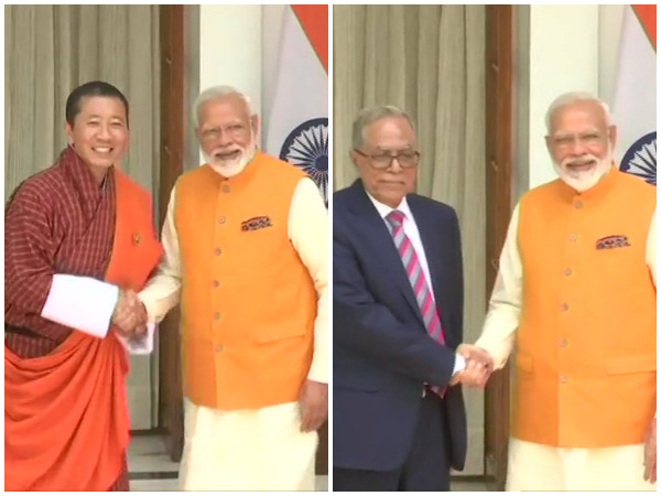 PM Modi with Bhutanese PM (L) and Bangladesh President (R) at Hyderabad House, New Delhi on Friday (Photo/ANI)