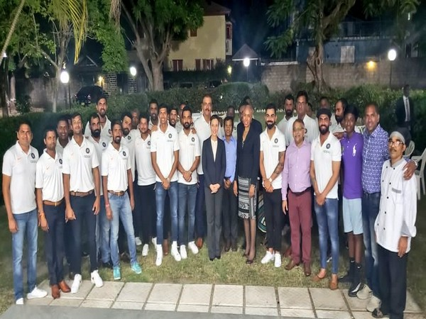 Indian team gathering outside the residence of Indian High Commissioner M Sevala Naik's in Jamaica. (Photo/BCCI Twitter)