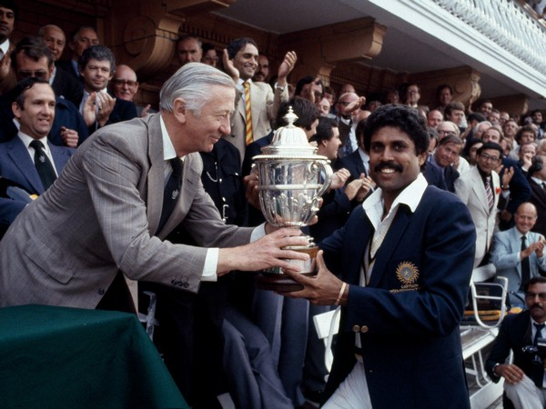 The iconic picture of Kapil Dev receiving 1983 World Cup trophy at Lord's Cricket Ground. (Photo/BCCI Twitter)