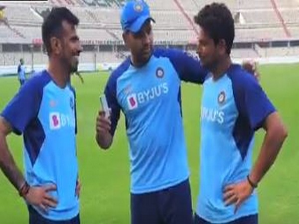 India's Yuzvendra Chahal (left), Rohit Sharma (middle) and Kuldeep Yadav (right) (Photo/ BCCI)