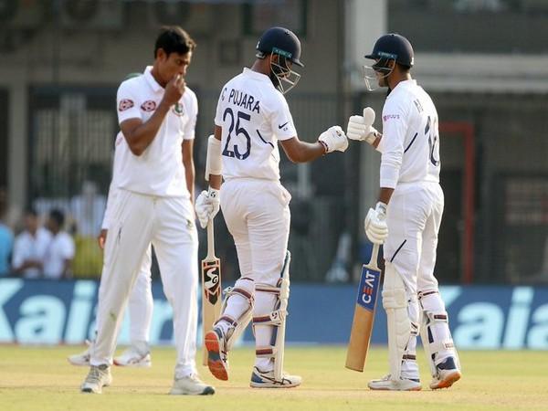 Cheteshwar Pujara and Mayank Agarwal (Photo/BCCI Twitter)
