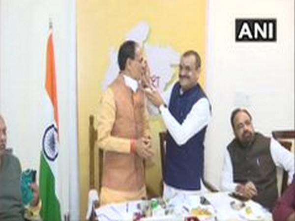 Visuals from BJP headquarters in Bhopal on Tuesday. Photo/ANI