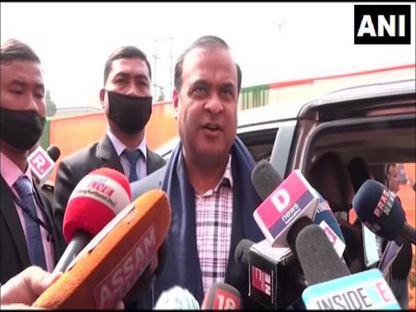 Assam Minister Himanta Biswa Sarma talking to reporters on Saturday.