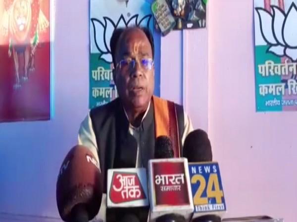 BJP MLA Suresh Tiwari speaking during his press conference on Tuesday. Photo/ANI