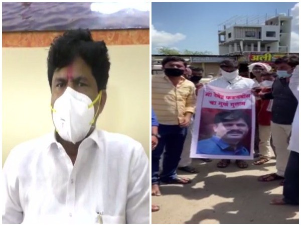 NCP supporters burned the effigies of Padalkar and raised slogans against BJP MLC Gopichand Padalkar. (Photo/ANI)
