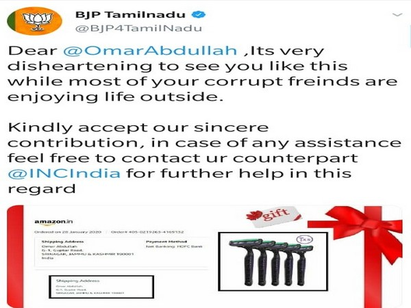 A screenshot of the now-deleted tweet by BJP Tamil Nadu's official Twitter handle. (Pic courtesy: BJP Tamil Nadu'sTwitter handle)