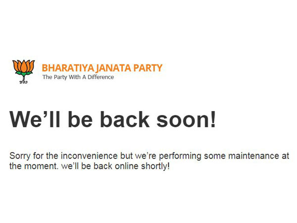 A screeshot of the BJP website