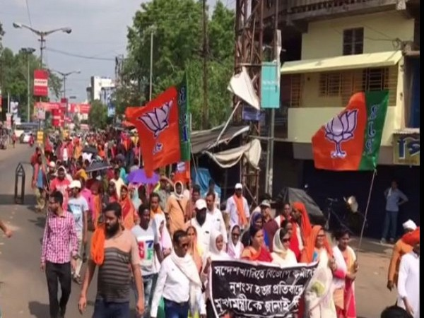 BJP workers protest against Basirhat incident in West Bengal