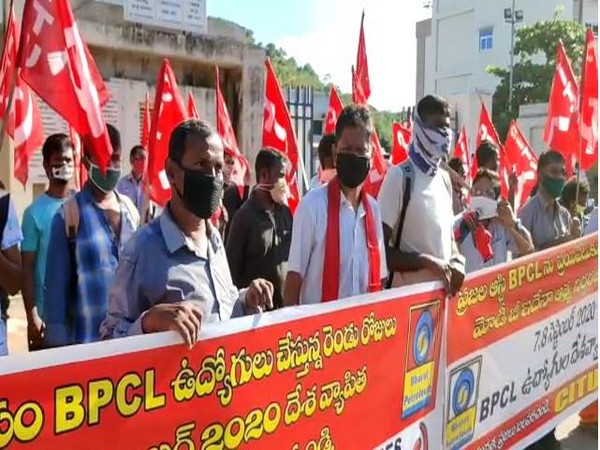 Visual from protest march carried out by CPI-M in Visakhapatnam on Monday. [Photo/ANI]