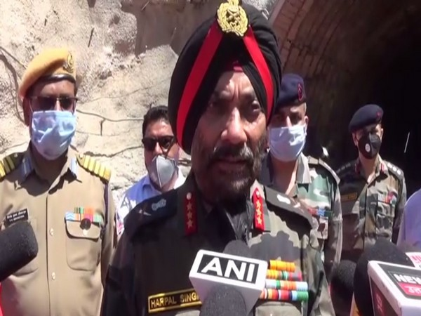 BRO Chief Lt Gen Harpal Singh speaking to reporters in Tehri on Tuesday. [Photo/ANI]