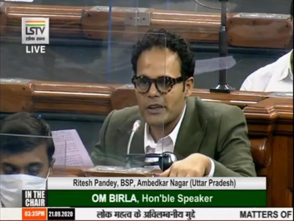 BSP MP Ritesh Pandey speaking to ANI in Lok Sabha on Monday.