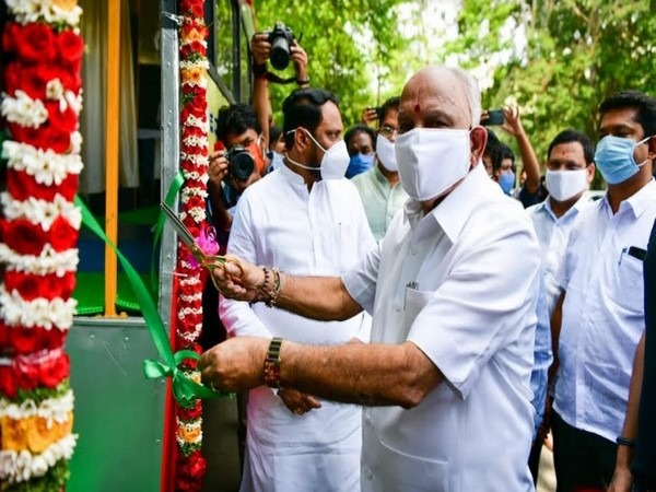 Chief Minister BS Yediyurappa at the launch of mobile health clinic van
