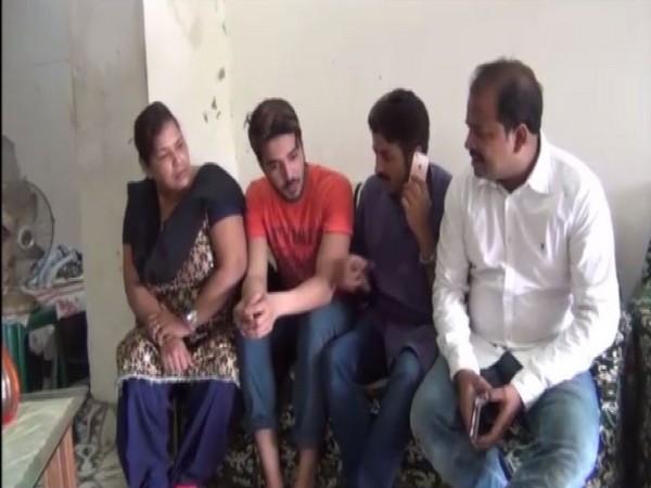 Arrested BJYM leader Priyanka Sharma's family on Sunday. Photo/ANI