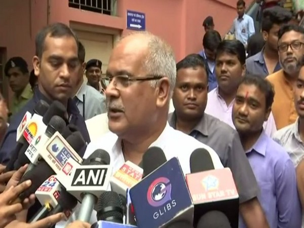 Chhattisgarh Chief Minister Bhupesh Baghel while talking to reporters on Thursday. Photo/ANI