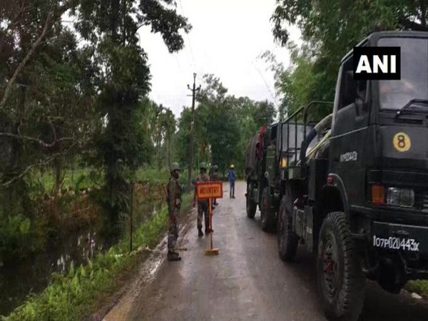 Army has cordoned off the area at Baghjan in Tinsukia district. [Photo/ANI]