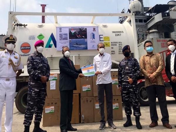 INS Airavat reached Indonesia with 300 oxygen concentrators, and 100 MTof Liquid Medical Oxygen (Twitter/Embassy of India, Bahrain)