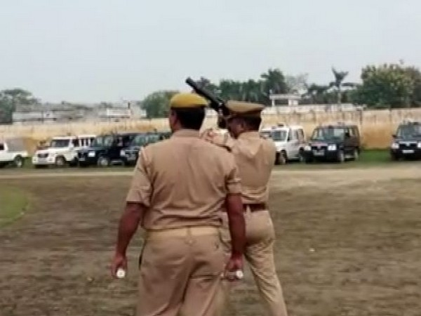 Police personnel failed to fire tear gas shells during a riot-control mock drill in Ballia. Photo/ANI