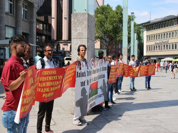 BRP activists stage an anti-Pakistan protest in Cologne, Germany over enforced disappearances of Baloch people in Balochistan.