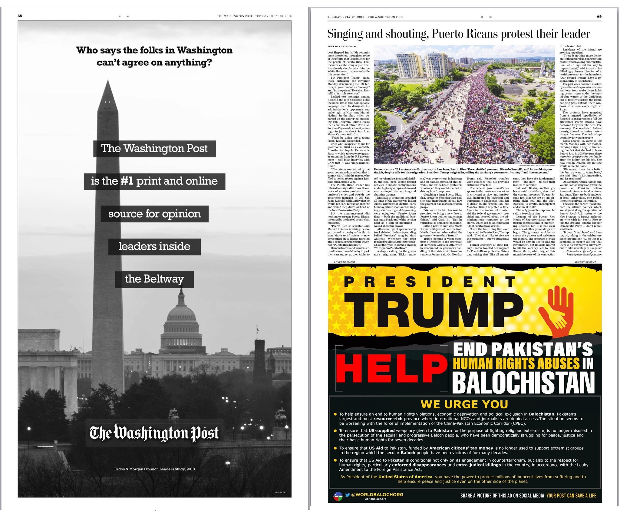 An advertisement in the Washington Post newspaper urging Trump to help end human rights abuses in Balochistan