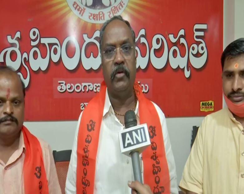 VHP Telangana Secretary Bandari Ramesh speaks to ANI in Hyderabad on Wednesday. (Photo/ANI)