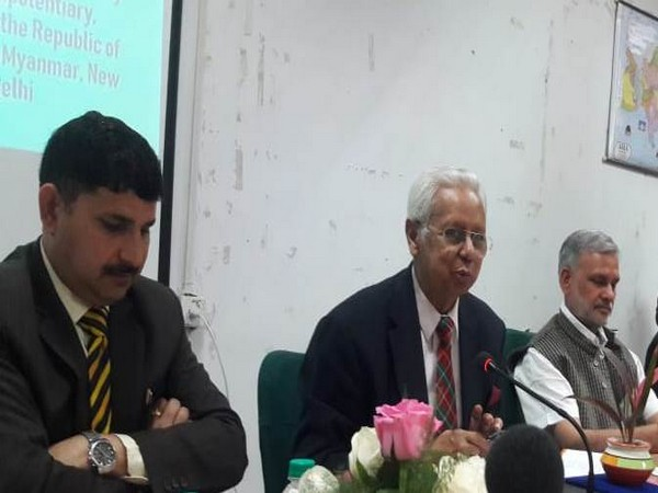 Bangladesh High Commissioner to India, Syed Muazzem Ali (second from left) speaks at a conference at JNU in Delhi on Tuesday.