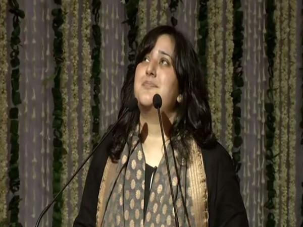 Bansuri Swaraj, daughter ofSushma Swaraj speaking at a prayer meet on Friday.