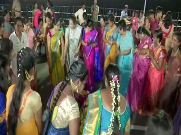Maha Bathukamma celebrations in Hyderabad. Photo/ANI