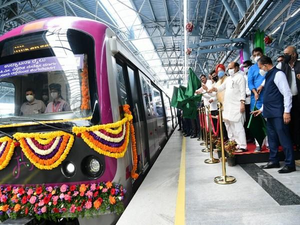 Karnataka CM Basavaraja Bommai inaugurating new section of metro rail in Bengaluru on August 29