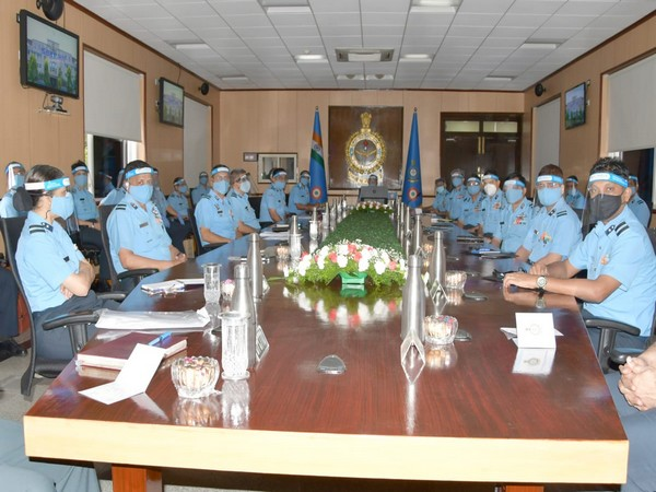 Air Marshal AS Butola, Air Officer Commanding-in-Chief, Training Command addressing the Commanders Conclave at the Headquarters Training Command, IAF in Bengaoluru.