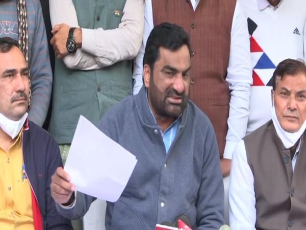 RLP chief Hanuman Beniwal speaking at a press conference in Jaipur on Saturday [Photo/ANI]