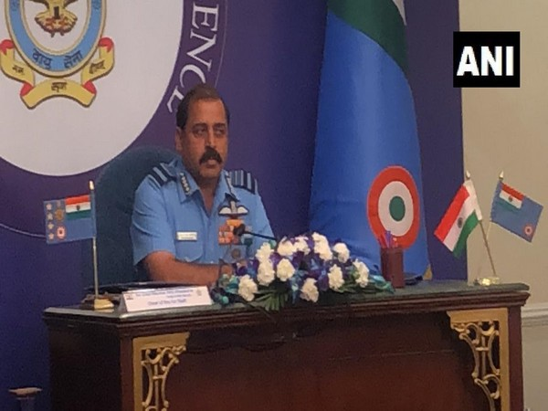 Chief of Indian Air Force (IAF), Air Chief Marshal RKS Bhadauria at a press conference in New Delhi on Friday. (Photo/ANI)