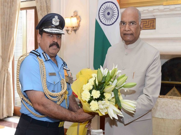 Chief of Air Staff Air Chief Marshal RKS Bhadauria with President Ram Nath Kovind on Monday. Photo/ANI