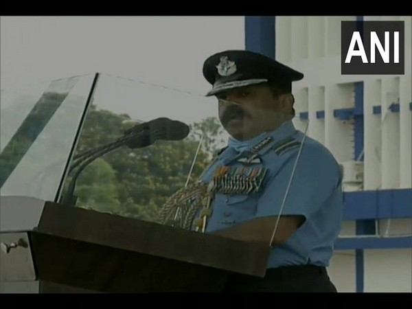 IAF Chief Air Chief Marshal RKS Bhadauria speaking at the Combined Graduation Parade (CGP) at Air Force Academy in Hyderabad on Saturday. Photo/ANI