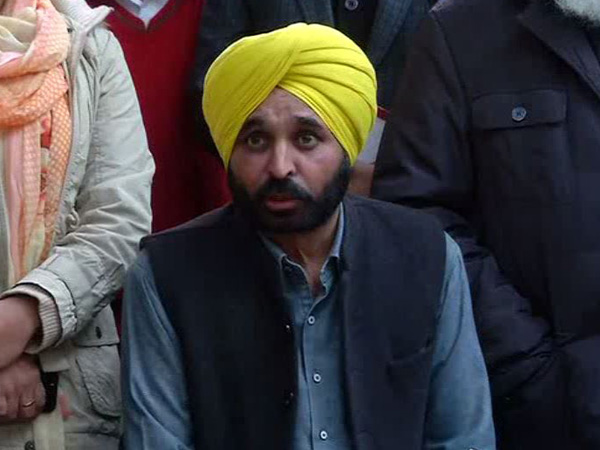 AAP MP Bhagwant Mann speaking to reporters in Delhi on Friday