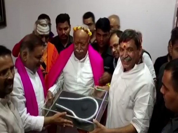 RSS chief Mohan Bhagwat in Deoghar on Monday. Photo/ANI