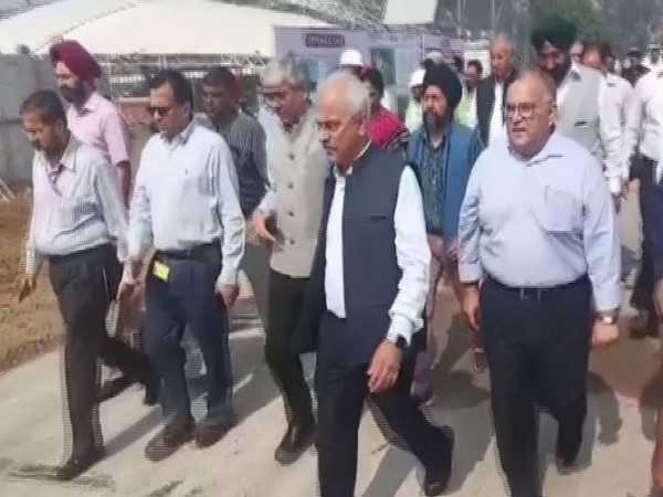 Home Secretary Ajay Kumar Bhalla (in centre) at the Kartarpur corridor site in Gurdaspur, Punjab on Monday. Photo/ANI