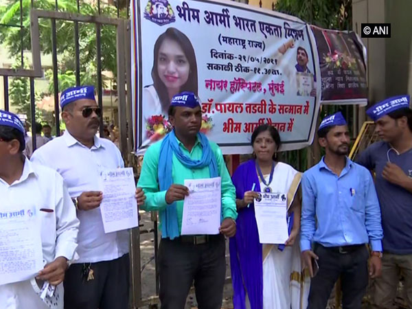 Members of the Bhim Army holding protest outside BYL Nair hospital in Mumbai on Wednesday. Photo/ANI