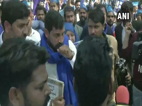 Bhim Army Chief Chandrashekhar Azad in a protest march at Mandi House on Sunday. Photo/ANI