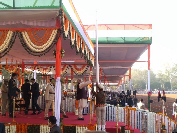 Bhopal Governor Lalji Tandon hoisting the flag at Lal Parade Ground in Bhopal on the occasion of 71st Republic Day celebration in Bhopal on Sunday Photo/ANI